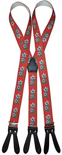Alpin-Trachten Trachten Hosenträger mit Edelweiss für Knöpfe Rot, Grün, Blau, Schwarz -105 (Rot)