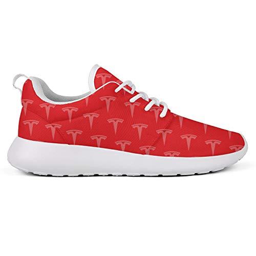 Men Flat Bottom Light Tesla-red-White-Original-Logo-Tile-Background- Running Shoes Walking Shoes
