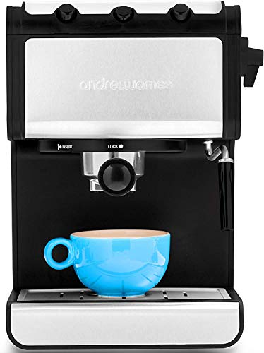Andrew James Espresso Machine Barista Coffee Machine with 15 Bar Pump and Milk Frother | Ideal for Home Kitchen | Reusable Stainless Steel Filter | Removable 1.4L Water Tank | Cup Warmer | 850W