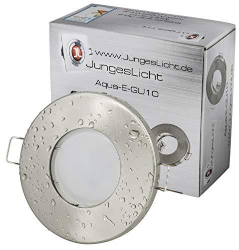 7Watt Set Einbaustrahler Aqua IP65 Optik Edelstahl Gebürstet GU10 7W LED Leuchtmittel 3000Kelvin TÜV GS Geprüft Warmweiss 500Lumen Leuchtmittel Austauschbar Bad Dusche Vordach