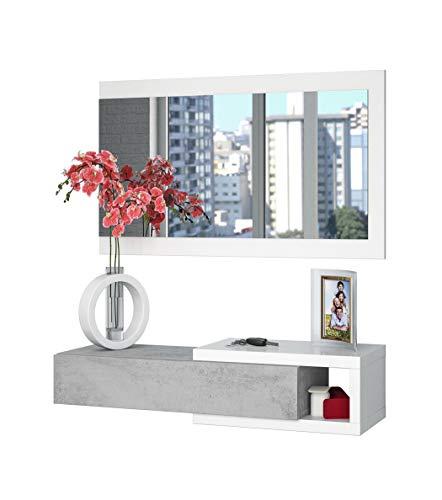 Dmora Mobile da Ingresso con cassetto e Specchio, Colore Cemento e Bianco, cm 95 x 19 x 26