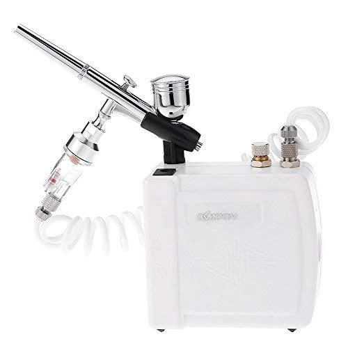 KKmoon Doppelaktion Airbrush Kompressor Kit mit Luftbürstenhalter / AC Transformator / Luftschlauch für Kunst Nagel Malerei Make-up Handwerk Kuchen Modell Spray 110-240V Schwerkraftfilter 0.3mm