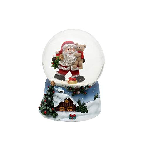 Dekohelden24 Palla di neve – Babbo Natale con orsetto – su base blu con paesaggio invernale natalizio, dimensioni (altezza x larghezza x diametro): circa 9 x 7 cm Ø 6,5 cm.