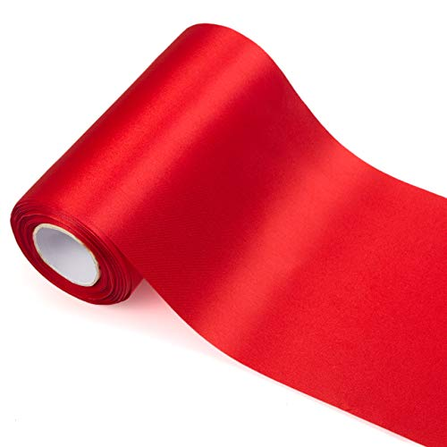 ADVcer 7.9 inch Wide Red Satin Ribbon Roll - 24.1 Yard Long Bulk for Christmas Holiday Decorative, Wedding Birthday Ceremonial, Gift Wrapping, Ribbons Cutting, Chair Sashes, Indoor Outdoor Embellish