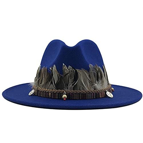 Sombreros de hombre Nuevas mujeres hombres lana Fedora Sombrero con pluma caballero elegante señora invierno otoño ancho alza jazz iglesia panama sombrero gorra ( Color : Blue , Size : 59to61CM )