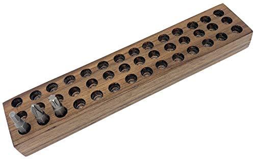 MLTOOLS   42 Hex Bits Organizer Tray   Hold 42 Screwdriver Bits   USA Handmade   Solid Walnut Wooden   WWBO42