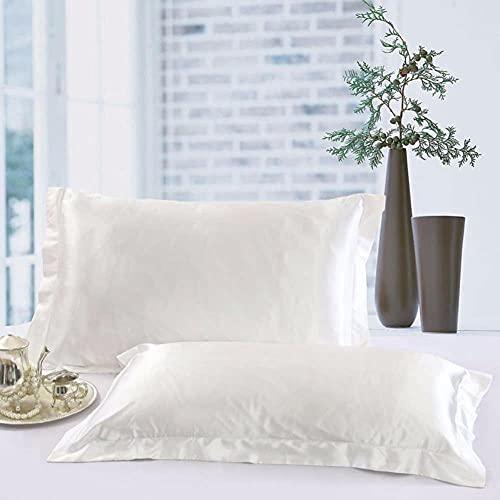 2 Cómoda Funda de Almohada Funda de Almohada de Seda Mulberry Stain Decoración de Dormitorio Cremallera Saludable Funda de Almohada de Color Sólido-Blanco, 70 * 70, Francia