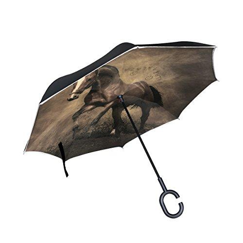 isaoa Große Schirm Regenschirm Winddicht Doppelschichtige seitenverkehrt Faltbarer Regenschirm Verwendung für Auto,C-förmigem Henkel Regenschirm Fat Pferd braun Regenschirm für Damen und Herren