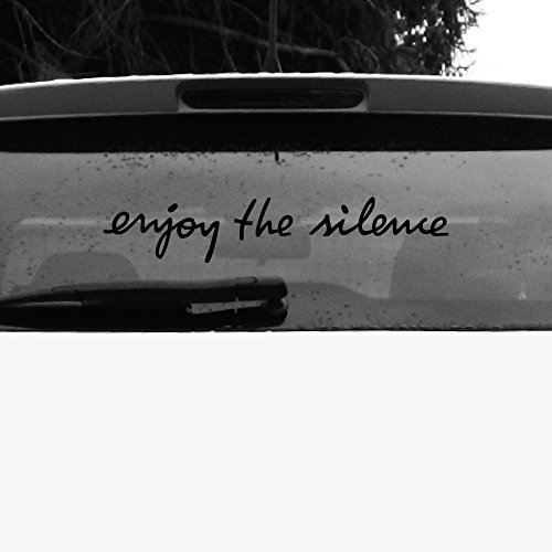 GreenIT Schriftzug Enjoy The Silence Aufkleber Tattoo die Cut car Decal Auto Heck Deko Folie Depeche Mode (schwarz invers)