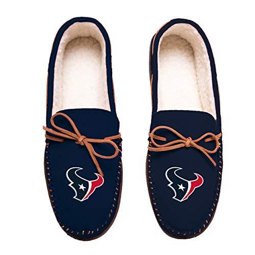 FOCO Football Mens Team Color Big Logo Moccasin Slippers Shoe - Pick Team (Large 11-12, Houston Texans)