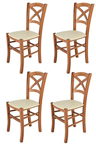 Tommychairs - 4er Set Stühle Cross für Küche und Esszimmer, Robuste Struktur aus lackiertem Buchenholz im Farbton Kirschholz und gepolsterte Sitzfläche mit Kunstleder in der Farbe Elfenbein bezogen
