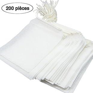 qcoqce Kit Non-Woven Disposable Empty Tea Bag Pack of 200pcs 7* 9cm Tea Strainer Teapot Filter Bag White