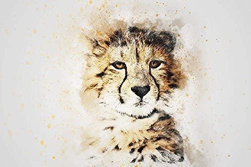 Beaxqb Pintar por Numeros para Adultos Niños Leopardo Animal Lienzo Colorido con cepillos Decoración Decoraciones 40x50cmSin Marco