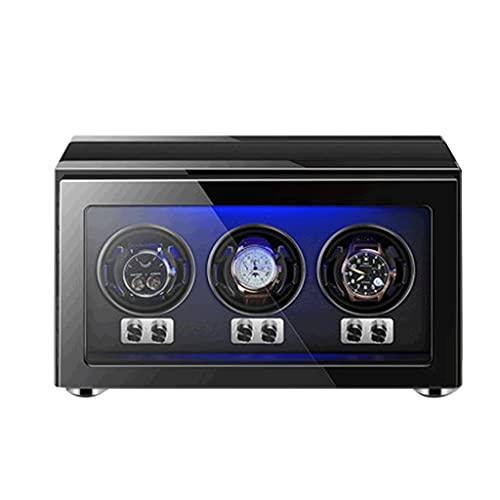 LRBBH Cajas Giratorias para Relojes para 3 Relojes Automáticos Almohadas Reloj Ajustables para Universal Concha Madera Incorporada Azul Iluminación LED Ultra-Silencio Fácil Acceso