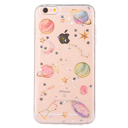 iPhone 7 Case,iPhone 8 Case [With Tempered Glass Screen Protector],Mo-Beauty Bling Shiny Cute Pattern Design Sparkle Glitter Soft TPU Silicone Gel Case Cover For Apple iPhone 7/8 4.7 Inch (Star)