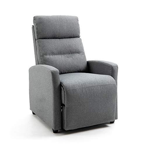 Mingone Relaxsessel mit Liegefunktion Fernsehsessel Sessel Liegefunktion Fernseh-TV-Sessel Kinosessel Lesesessel(Grau, 88 x 65 x 100cm)