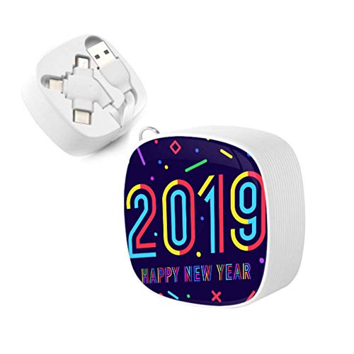 USB Cords 2019 Happy New Year Greeting Card Retractable Fast Charging Cable Micro USB Charger USB Port Adapter for iPhone,Android,tpye-c Universal Interface and Other Phones and Tablets