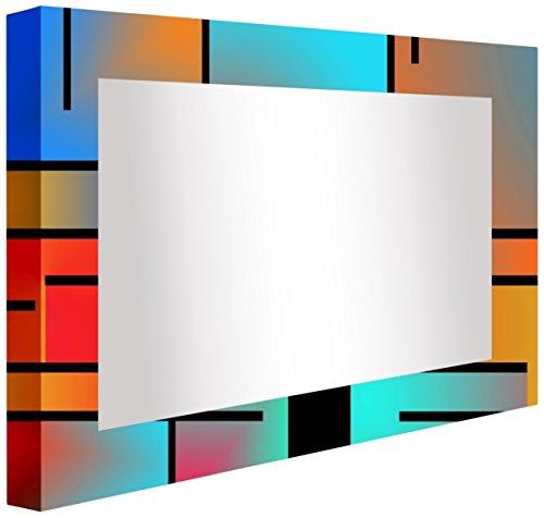 Verlichte badkamerspiegel met kleurrijke lijnen, acryl, meerkleurig, 80 x 60 x 5,3 cm