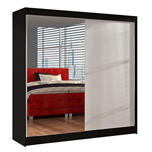 Schwebetürenschrank Basti I 200 cm mit Spiegel - Kleiderschrank, Schiebetürenschrank mit Kleiderstange und Einlegeboden, Schlafzimmerschrank, Schiebetüren, 200x215x58 cm (Schwarz/Weiß)