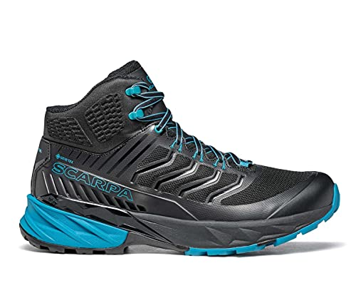 SCARPA Men's Rush Mid GTX Waterproof GORE-TEX Shoes for Hiking and Trail Running - Black/Ottanio - 10-10.5