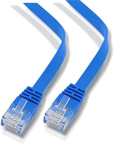 rhinocables CAT 6 Netzwerkkabel Flach Ethernet Kabel CAT6 Gigabit Patchkabel Dünn Schmal Internet RJ45 Kompatibel mit CAT5 CAT5E CAT5 LAN Switch Router Modem Access Point Patchfelder (10m, Blau)