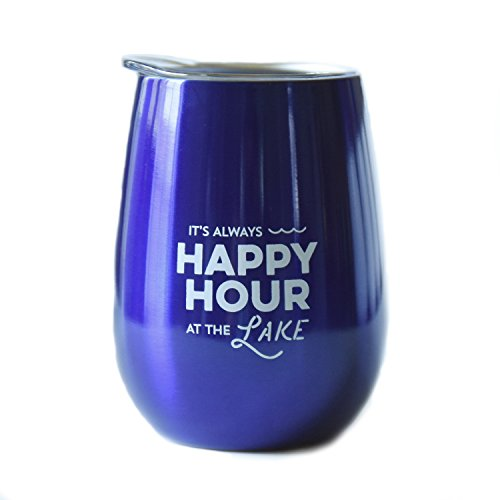 Lake Tumbler - 10 oz Stainless Steel Stemless Wine Glass with Lid (It's Always Happy Hour At The Lake, Metallic Blue) Wine Tumbler Sippy Cup for Adults ...