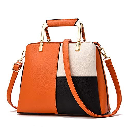 Sipobuy Donne Top Handle Bag Borse Con Lunga Tracolla Crossbody Messenger Bag Tote Satchel Per Le Signore Di Cuoio DELL'UNITÀ Di Elaborazione (Orange)