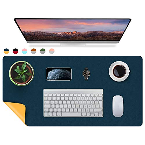 iLeadon Desk Pad, Dual-Sided Large Gaming Mouse Pad, Office Desk Mat, Durable PU Leather Desk Blotter Protector, Waterproof Desk Writing Pad for Office and Home, 31.5' x 15.75' - Blue/Yellow