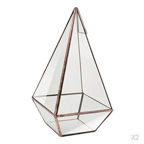 PETSOLA 2X Mini Glas Terrarium Geometrisches - 12 * 12 * 24cm, Kupfer+Pyramide