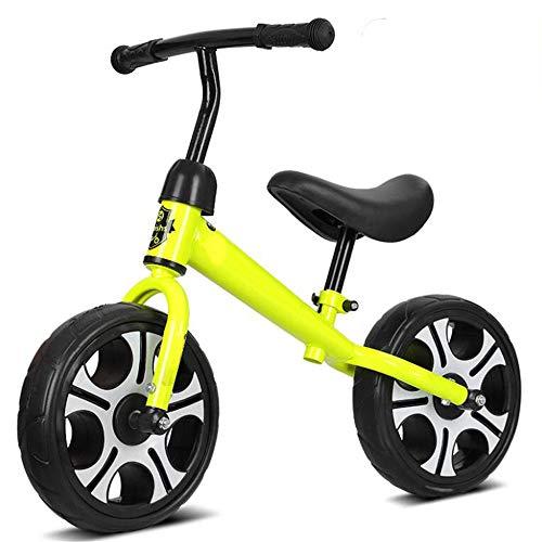 JLYLY Infantil Neumáticos Bike Balance de Acero al Carbono de Alta Espuma Pedal de la Bici del bebé sin Pedales / 12 Pulgadas de 2-6 años,Amarillo