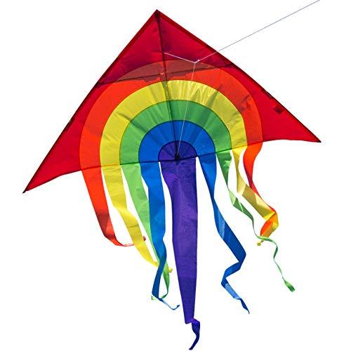 CIM Grande Aquilone - Super DRACHEN Rainbow Delta XL - Aquilone monofilo per Bambini a Partire da 6 Anni - 150 x 166 cm - comprende Corda per Aquilone da 80 m e Coda a Strisce