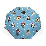Paraguas Plegable para niñas Sombrero de Dibujos Animados Se admiten Perros Paraguas de Arte de 3 Pliegues (impresión Exterior Paraguas Plegado El Mejor Paraguas Paraguas Plegable Compacto
