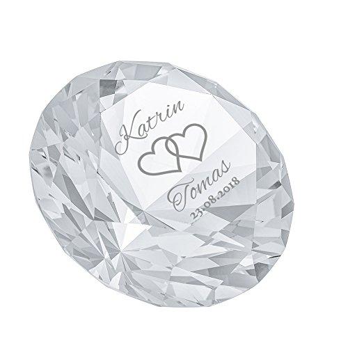 Casa Vivente Cristallo in Vetro a Forma di Diamante con Incisione Personalizzata con Nomi e Data, Motivo Cuori, Fermacarte da Scrivania, Regalo di Nozze