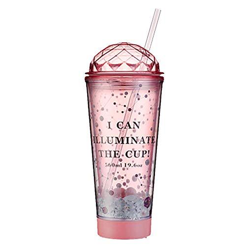 Walenbily - Vaso con pajita y tapa, 560 ml, doble pared de luz reutilizable en el fondo del vaso para zumo, café, café helado