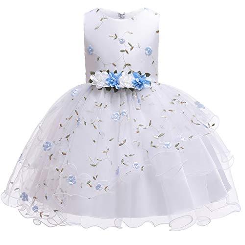 Mädchen Kleider Kinder Kleinkind Baby Geblümte Maschen Prinzessin Kleidung Ohne Arm Rockabilly Abendkleid Ballkleid Party Hochzeit Outfits (Blau, 120)