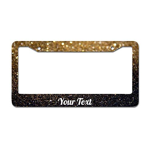 OFVIU Your Text Glitter Gold Black Car License Plate Frame - Aluminum Metal Auto License Plate Frame Tag Holder Frame Cover - for Universal Cars 12 X 6 Inch