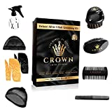 9 in 1 Waver Kit - 2 Silky Durags, Medium Hard Wave Brush, Soft Bristle Crown Beard Brush, Wood Comb, Plastic Comb, Spray Bottle, 2 Silky/Stocking Wave Cap (Black and Gold)