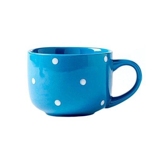 CHOOLD Ceramic Coffee Mug Polka Dot Milk Cup Tea Cup Jumbo Mugs Soup Bowl with Handle -15oz