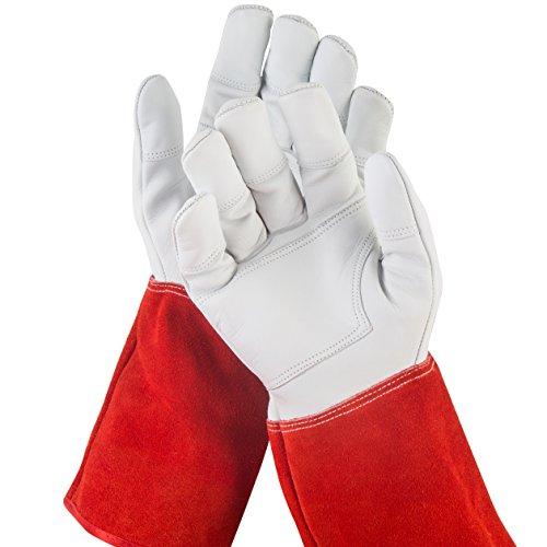 NoCry dornensichere und stichfeste Gartenhandschuhe aus Leder mit extra langem Unterarm-Schaft, verstärkten Handflächen und Fingerspitzen, Größe M, 1 Paar