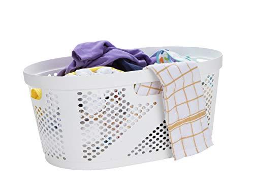 Mind Reader 40 Liter Laundry Basket, Laundry Basket, Storage Basket, Bathroom, Bedroom, Home, White