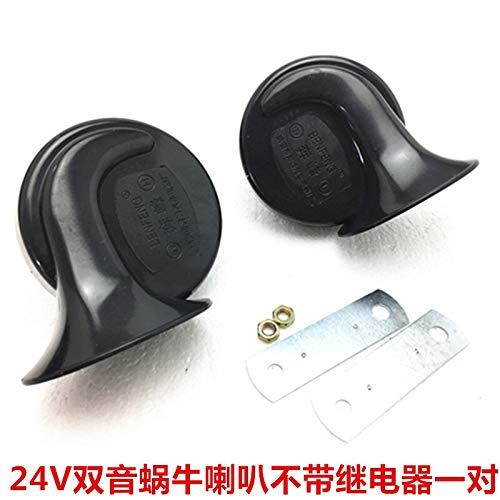 Shang Jiangan Carro del Coche Van de Tipo Disco de instalación de bocina 12V24V del Cuerno Silbato de Cuerno de Simple y Doble (Color : 24V*2)