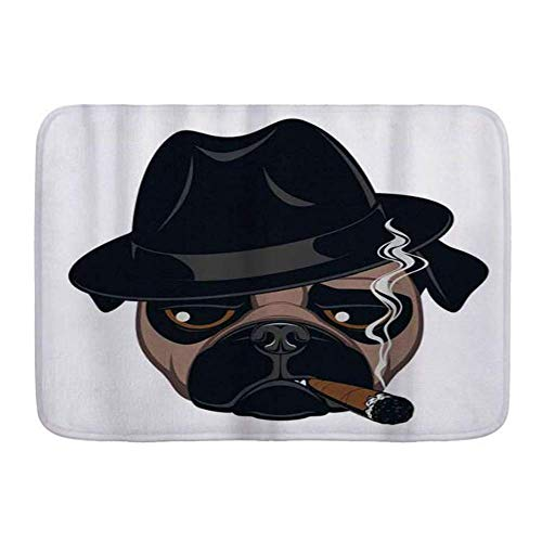 SUPERQIAO Bath Mat Rug,Stylish Cigar Cartoon Pug Dog with A Cigar Cool Guy Funny Gangster Character,Non-Slip Absorbent Ultra Soft Bathroom Decor Mats