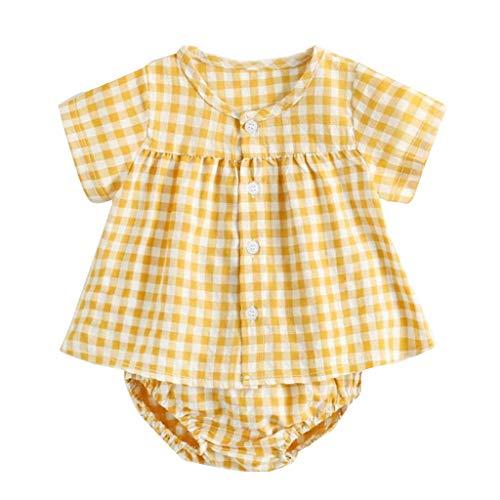 CCIIO Camisa de cuadros para bebé de manga corta + pantalones cortos de dos piezas Shir