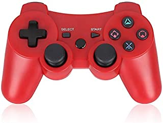 PS3 Controller Wireless Double Shock Gamepad for Playstation 3, Sixaxis Wireless PS3 Controller with Charging Cable,Compatible with Playstation 3 (RED)