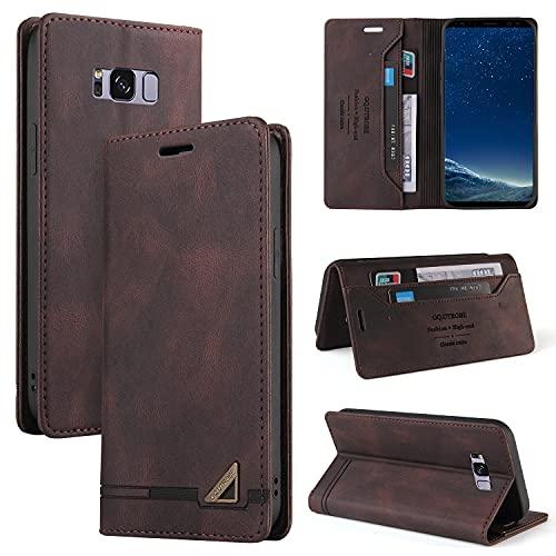 Funda con tapa para Samsung Galaxy S8, funda de piel sintética de alta calidad, con función atril, cierre magnético, ranuras para tarjetas, TPU a prueba de golpes, color marrón