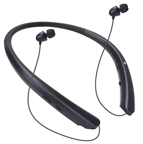 Bluetooth Neckband Headphones Wireless Headset Retractable Earbuds HD Stereo Noise Cancelling Earphones with Mic (Call Vibrate Alert, 15 Hrs Playtime, Black)