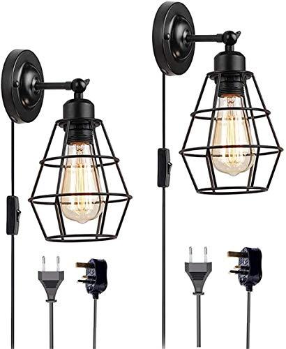 UIGJIOG Retro Wandleuchten Stecker in Wandleuchte mit Schaltern, Vintage Industrie Wandlampe Schlafzimmer Nachttischlampe Justierbare Metalllampenschirm für Wohnzimmer Loft Korridor E27 MAX 40W,