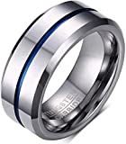 LAMUCH Mens Wedding Bands Rings 8MM Tungsten Carbide Engagement Band IP Blue Line Plated Beveled Edge Punk Bands Cocktail Promise Rings High Polished US Size 7-12
