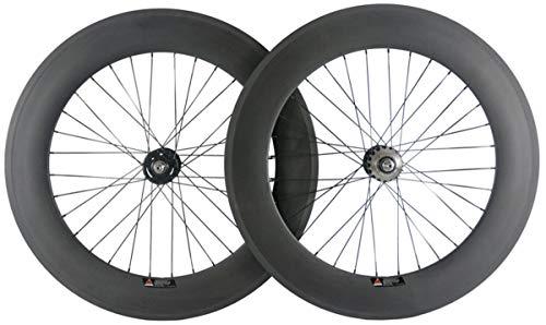 Hulk-sports Carbon Fixed Gear Wheelset 700c Rim Single Speed Bike/Fixie Bicycle Front & Rear Wheel Set Clincher Type 88mm Depth 23mm Width Track Bike Wheelset (Rear Wheel Only)