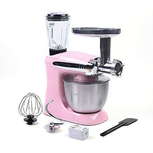 Aohuada Robot de cocina universal 3 en 1, amasadora multifunción, 6 niveles de velocidad, batidora, con picadora de carne, exprimidor, cuenco de acero inoxidable de 4 l (rosa)